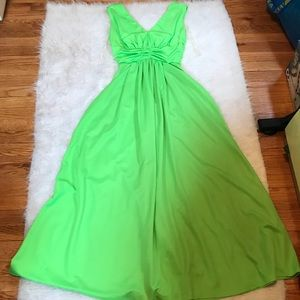 Vintage Lime Green Long Formal Gown